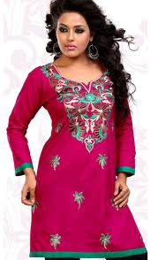 cotton kurti in red with beautiful designer look