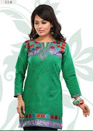 cotton kurtis in green color with designer look