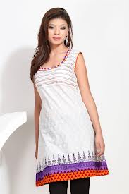 cotton kurtis in white color with simple design